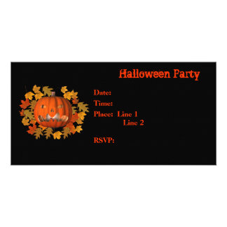 Halloween Party Invitation Jack O Lantern Card Personalised Photo Card