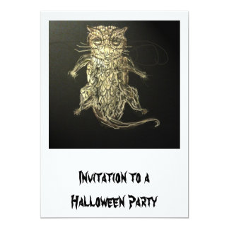 Halloween Party Invitation: Part Owl,Part Cat Card