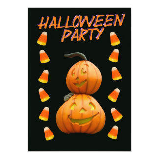Halloween party invitation pumpkins and candy