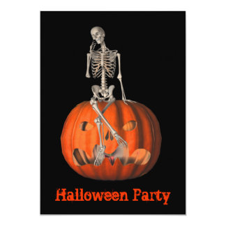 Halloween Party Invitation Skeleton Jack O Lantern