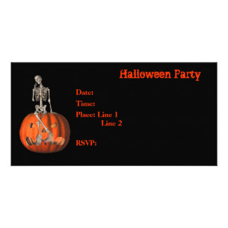 Halloween Party Invitation Skeleton Pumpkin Card Photo Greeting Card