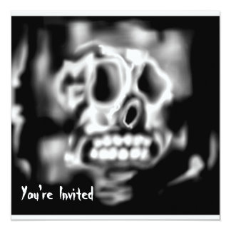 "Halloween Party Invitation Skull 5.25"" Square Invitation Card"