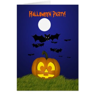 Halloween Party Invitation with Pumpkin and Bats Greeting Card