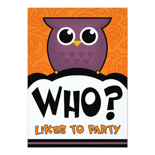 Halloween Party Invitations Cartoon Owl