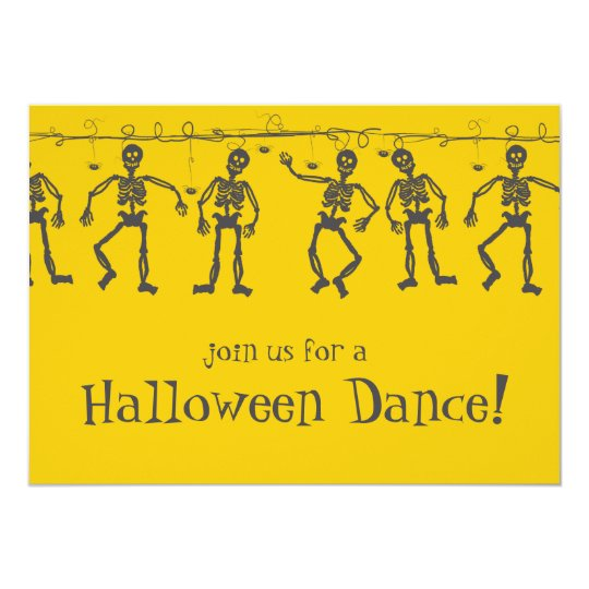 Halloween Party Invitations Dance Skeletons