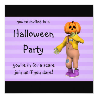 "Halloween Party Invitations Happy Jack Square 5.25"" Square Invitation Card"