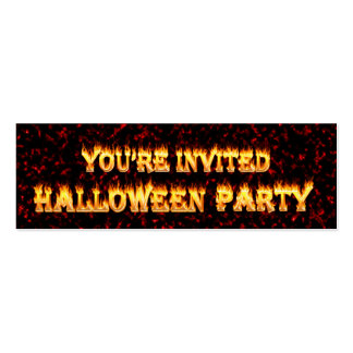 Halloween Party Invitations in fire and flames Business Cards