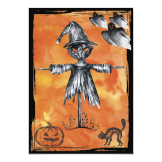 Halloween Party Invite - Scarecrow & Ghosts