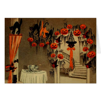 Halloween Party Jack O Lantern Pumpkin Black Cat Card