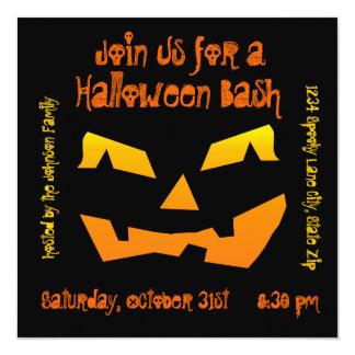 "Halloween Party Jack O Lantern Pumpkin Invitations 5.25"" Square Invitation Card"
