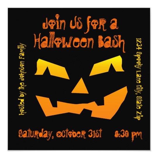 Halloween Party Jack O Lantern Pumpkin Invitations