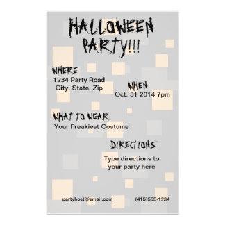 Halloween party orange black box digital art abstr 14 cm x 21.5 cm flyer