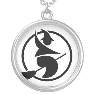 halloween party pictogram with witch round pendant necklace