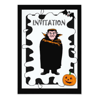 Halloween party pumpkin and wizard 13 cm x 18 cm invitation card