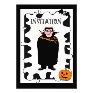 Halloween party pumpkin and wizard custom announcement