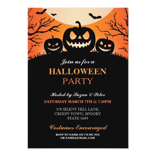 Halloween Party Pumpkin Scary Fun Invitation