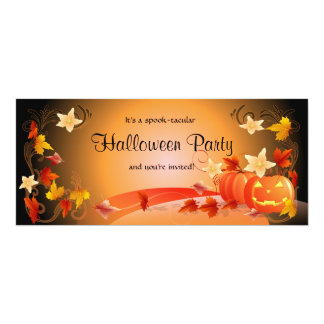Halloween Party Pumpkins, Autumn Leaves & Swirls 10 Cm X 24 Cm Invitation Card