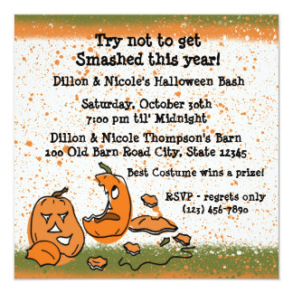 "Halloween Party Pumpkins 5.25"" Square Invitation Card"