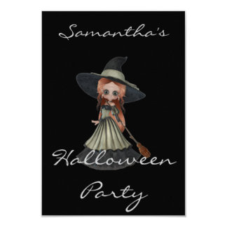 """""""Halloween Party"""" - Red-Haired Witch 9 Cm X 13 Cm Invitation Card"""
