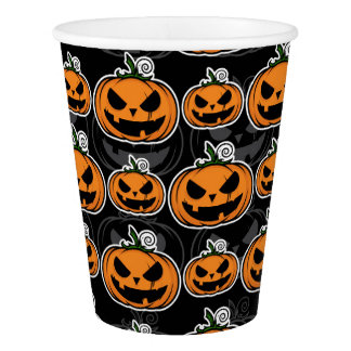 Halloween Party Scary Jack O'Lanterns Pumpkins Paper Cup