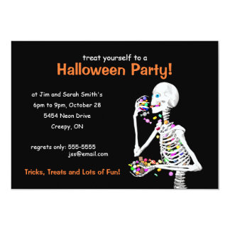"Halloween Party Skeleton 5"" X 7"" Invitation Card"