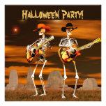 Halloween Party Skeleton Musicians Custom Invitation