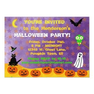 Halloween Party Spooky Cute Pumpkins Owl Ghost Cat 13 Cm X 18 Cm Invitation Card