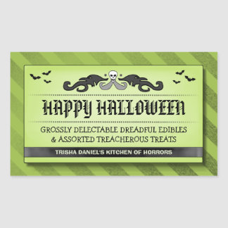 Halloween Party Treat or Drink Black Green Label Rectangle Stickers