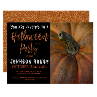 Halloween Party with Modern Orange Typography Card