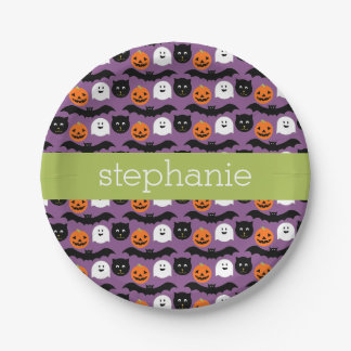 Halloween Pattern - Cute Bat Cat Pumpkin Ghost 7 Inch Paper Plate