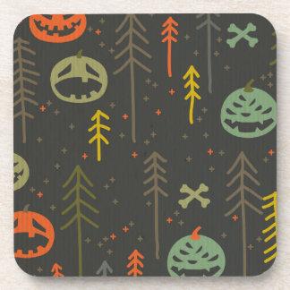 Halloween pattern,cute,hand drawn,skulls,pumkins, beverage coasters