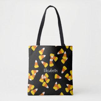 Halloween pattern random candy corn pieces tote bag
