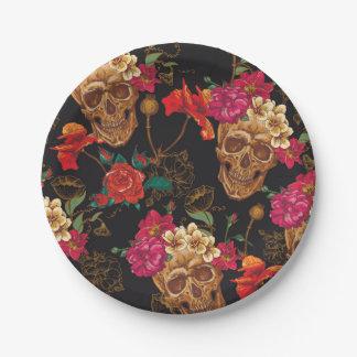 Halloween pattern,skulls,roses,gothic,black,trendy 7 inch paper plate