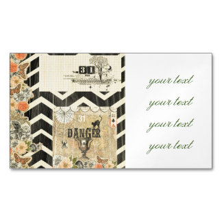 Halloween,pattern,vintage,rustic,old,victorian,col Magnetic Business Cards