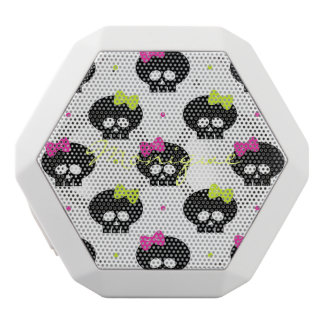 halloween pattern with funny skulls and name white bluetooth speaker