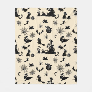 Halloween pattern with pumpkins bats witches fleece blanket