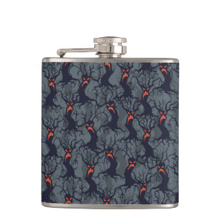 Halloween pattern with trees hip flask