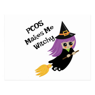 Halloween PCOS Makes Me Witchy Postcard