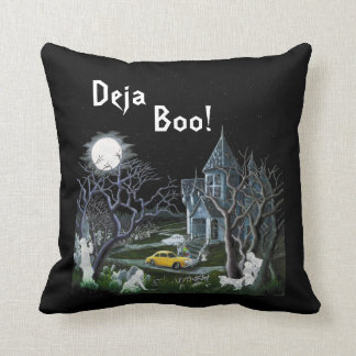 Halloween,pillow,haunted,mansion,ghosts,cat,dog Throw Pillow