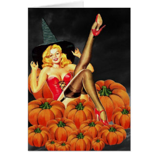 Halloween Pin-Up Girl on Pumpkins Card