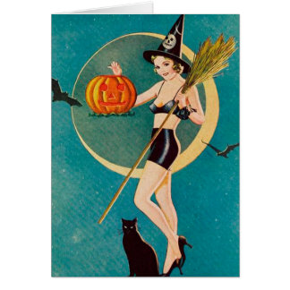 Halloween Pin-Up Girl Witch Card