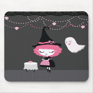 Halloween Pink Cute Witch mousepad