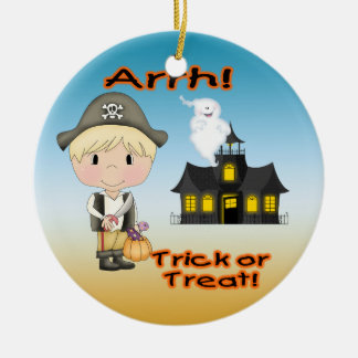 Halloween Pirate Boy Round Ornament