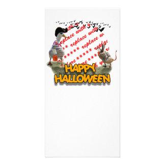 Halloween Pirate Duck & Devil Duck Photo Frame Photo Card Template