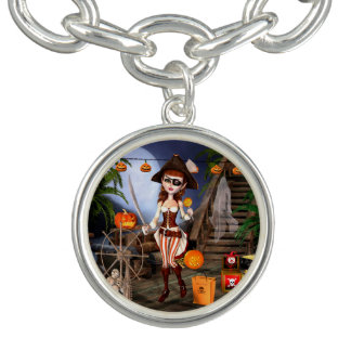 Halloween Pirate Girl Charm Bracelet
