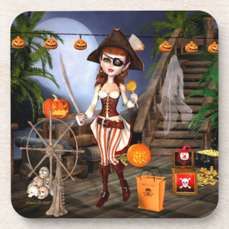 Halloween Pirate Girl Plastic Coasters