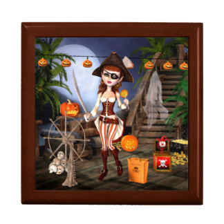 Halloween Pirate Girl Tile Art Jewelry Gift Box