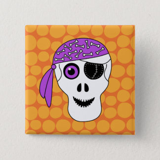 Halloween Pirate Skull 15 Cm Square Badge