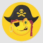 Halloween Pirate Smiley Round Stickers