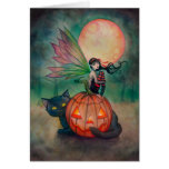 Halloween Pixie Fairy and Black Cat Fantasy Art Greeting Card